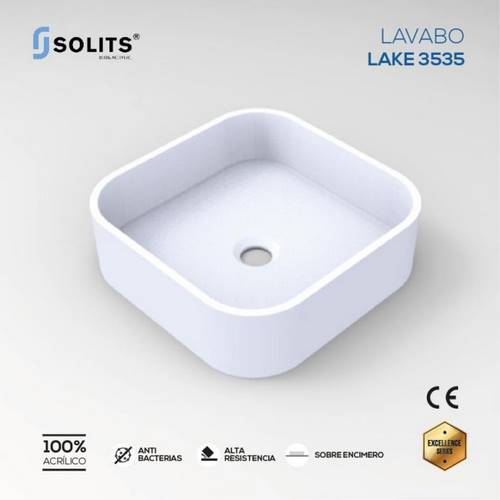 LAVABO SOLITS LAKE ENCIMERO 35X35 BLANC